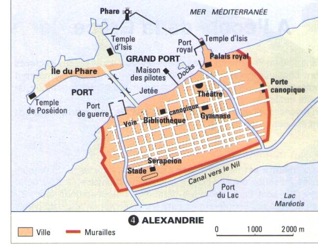Alexandrie, le plan de la ville